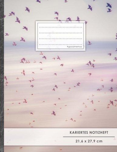 """Kariertes Notizbuch • A4-Format, 100+ Seiten, Soft Cover, Register, Mit Rand, """"Vogelschwarm"""" • Original #GoodMemos Quad Ruled Notebook • Perfekt als Matheheft, Skizzenbuch, Arbeitsheft, Tagebuch"""