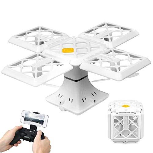 QHWJ Mini-Drohne Mit Kamera, Quadratischer Klappfernbedienung Quadcopter HD Live-Video-Antenne Höhe Und One-Touch-Bedienung Kinderflugzeug, Anfänger Geburtstag, White