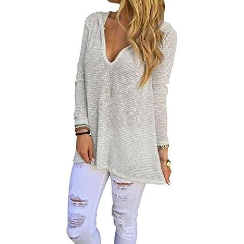 FEITONG La camisa de manga larga de las mujeres Blusa ocasional flojo camiseta de las tapas