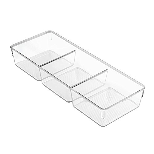 InterDesign Linus Schubladenbox für Schrank oder Schminktisch, 33,0 cm x 12,7 cm x 5,7 cm Aufbewahrungsbox mit 3 Fächern aus Kunststoff, durchsichtig (Küche-schrank-schublade-boxen)