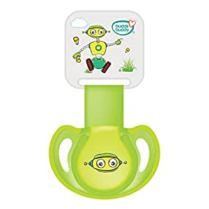 Buddsbuddy BB7039 Premium Pacifier with Ribbon and Clip, 2 Pieces (Green)