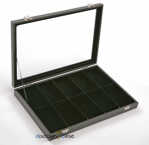 Sinoba Schmucklade Schmuckkasten Schaukasten Schmuckdisplay mit Glasdeckel (10 Fächer)