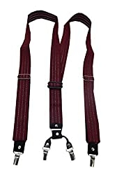 Navaksha Smoky Maroon Zig Zag Design Adjustable Suspender