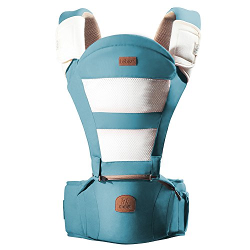 Bebamour Breathable Baby Carrier Hipseat 6 Carry Ways with Detachable Seat (Light Blue)