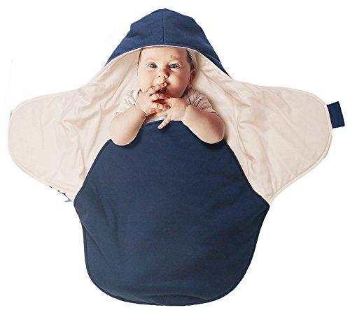Wallaboo Einschlagdecke Coco, Sehr praktische und Kuschelweiche Babydecke, 100% Baumwolle, 90 x 70 cm, Farbe: Blau