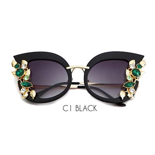 ZRTYJ Sonnenbrille Übergroße Cat Eye Sonnenbrille Frauen Retro Vintage Strass Diamant Metallrahmen 80 S Cateye Sonnenbrille Shades
