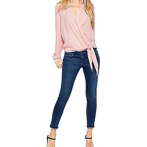 Sexy Scollo Profondo a V Collare Top a Portafoglio Avvolgente Incrocio Sul Davanti Blusa Camicia Chemisier Top Superiore Rosa