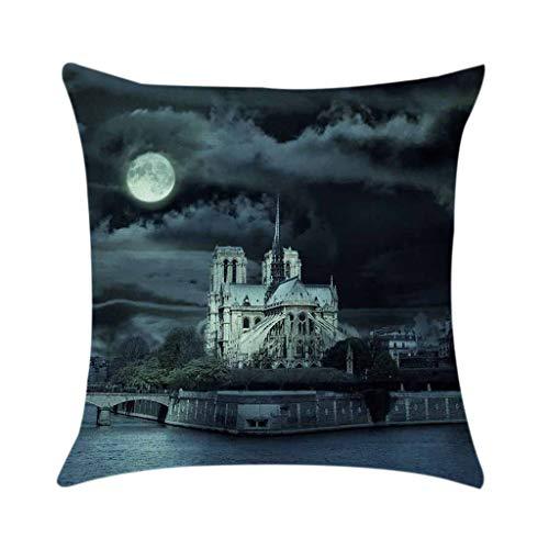 Xmansky Funda de Cojín Almohada Vista panorámica de Notre Dame de Paris...