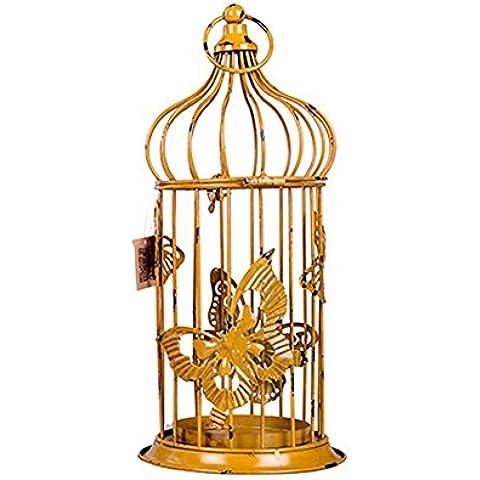 GYN Nostalgia retro creativa Hierro forjado viejo de la manera sostenedor de vela de la linterna Para el hogar decoración de jardín , yellow