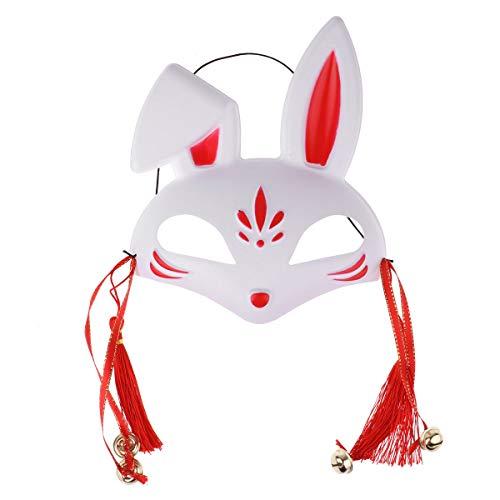 Agoky Unisex Masken Festival Party Cosplay Fuchs Hase weiße Maske Karneval Fasching Karneval Halloween Accessoires Japan Rot E One Size (Japan Motto Kostüm)