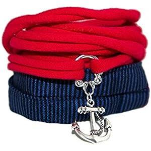 Wickelarmband Stoff - maritim - breites Armband - onesize - Stoffarmband zum Wickeln - Handmade - Endlosarmband mit Anhänger Anker - stretch - endlos - ohne Verschluss - dunkelblau und rot