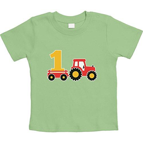 1 Jahr Geburtstag Junge Geschenk Traktor Bagger Unisex Baby T-Shirt Gr. 66-93 18-24 Monate/93 Limettengrün