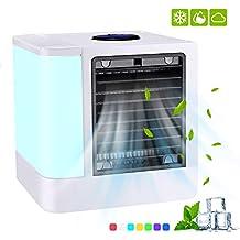 TOPELEK Mini Refrigerador Personal Portátil, USB Mini Refrigerador Purificador Humidificador con 7 Colores, Luces