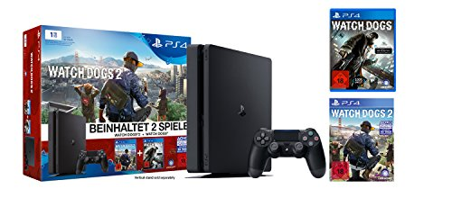 PlayStation 4 - Konsole (1TB, schwarz,slim) inkl. Watchdogs + Watchdogs2