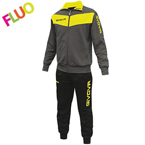 givova TR018F, Tuta Unisex - Adulto, Grigio Scuro/Giallo Fluo, L