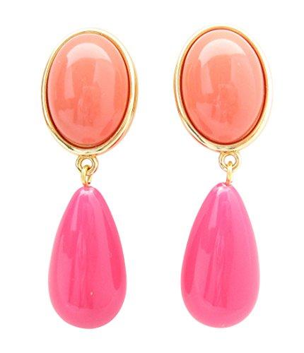 Sehr große orange-pinke Clip-Ohrstecker korall-roter Stein tropfenförmiger pinker Anhänger von Justwin sehr ()