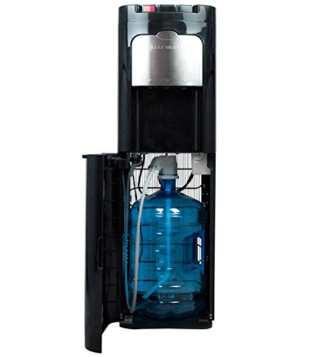 Dispensador de Agua de botellón. Carga Inferior. Color Negro. Agua fría, Caliente y Natural, con Sistema Auto-higienizante de Ozono