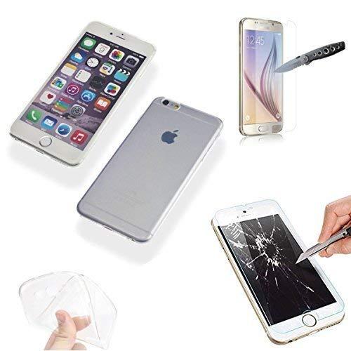 Handy TPU Hülle mit Panzer Glas Folie Schutz Cover Transparent Silikon Schale Tasche (Samsung Galaxy S5 mini) (Glas-handy Cover-galaxy S5)