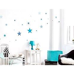 """I-love-Wandtattoo WAS-10105 - Set de pegatinas de pared para habitación infantil """"estrellas en azul para los niños"""", para pegar, tatuaje mural, pegatinas, decoración de pared 25 piezas"""
