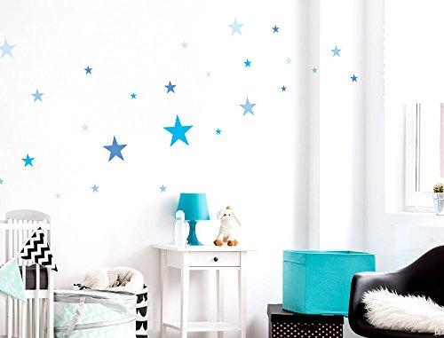 """I-love-Wandtattoo WAS-10105 Kinderzimmer Wandsticker Set """"Blaue Sterne für Jungen"""" zum Kleben Wandtattoo Wandaufkleber Sticker Wanddeko"""
