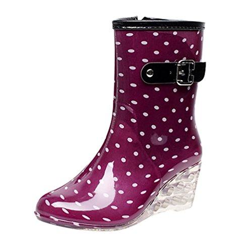 LvRao Frauen Absatzschuhe Stiefel mit Reißverschluss Wasserdichte Gartenschuhe | Damen Punkt-Muster...