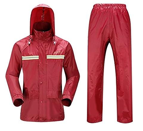 SK Studio Femme Veste de Travail et Pantalon Combinaison Imperméable PVC Rouge M