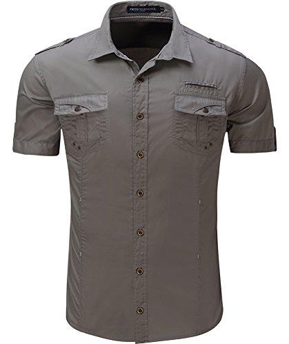 Kuson camicia casual - casual - maniche corte - uomo grau m