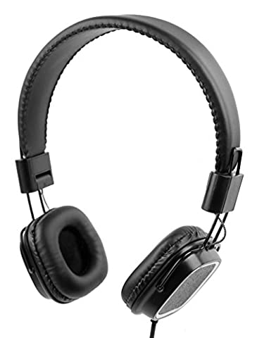 Premium Padded Black Headphones with Microphone - Compatible with the