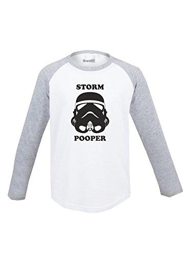 Storm Pooper!, Kinder Langarm Baseball T-Shirt - Weiss & Grau 5-6 ()