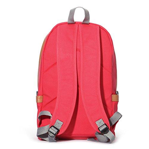 Eshow Damen Canvas Reise Sport Freizeit Wochenende Uni Rucksack Taschen Rot