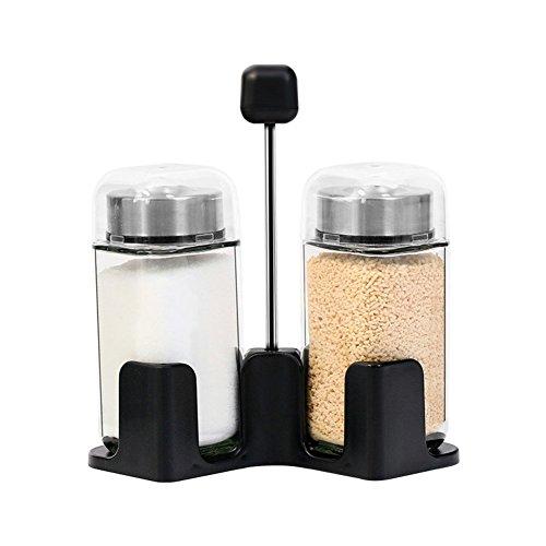 Kunststoff Glas Drehen Öl Pfefferstreuer,Multifunktional Zuhause Pulverisiert Gewürze Zoll Geschirr Salz Chili Pfeffer Stehlen Rostfrei Gewürz Feinheit Pfeffermühle Krug-B