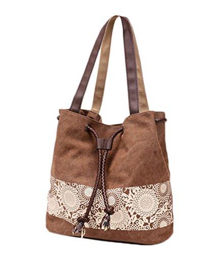 Scothen Large Beach Bag/Shopper Bag Tasche Strandtasche Böhmische Ethnische Lässig Handtaschen Damen Strandtasche Handbag Satchels Shoulder Bag Umhängetaschen klassisch Segeltuchtasche canvas bag Braun
