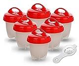 GESUNDHOME Hervidor de Huevos - 6 Hueveras Antiadherente Huevos Escalfados Cocedor [Sin BPA/Aprobado por la FDA/Aptas para el Lavavajillas] con Separador de Huevo (Rojo)