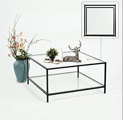 innovareds-uk Table Basse - Table de Salon (80 * 80 * 42CM) (Plateau en Verre) (Blanc) Table/Table en Verre/Table d'appoint/Salon/Haute Brillance
