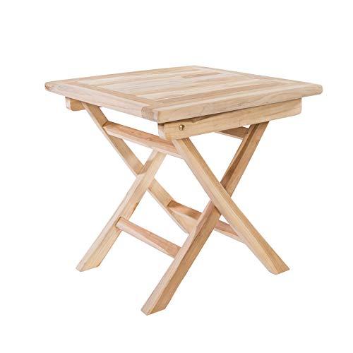 MACOShopde by MACO Möbel Klappbarer Beistelltisch aus massivem Teak Holz wetterfest für Garten Balkon und Terrasse - Quadratischer Holztisch 50x50 cm