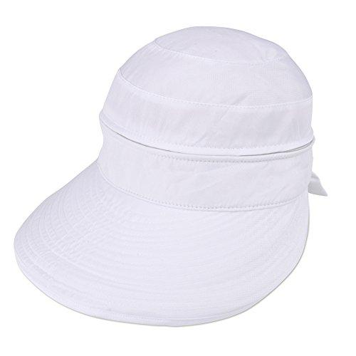 Vbiger Faltbare Sommer Sonnenhut Weiblicher Hut Baseball Kappe Frauen Anti-UV Hut (Weiß)