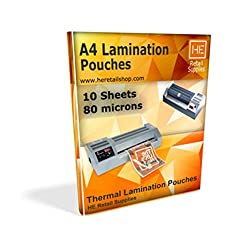 A4 Lamination Sheets Pouch 80 micron, 225x310mm, for Hot Laminator, 10 sheets