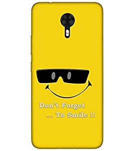 For Gionee A1 don't forget to smile ( don't forget to smile, good quotes, smile, yellow background ) Printed Designer Back Case Cover By TAKKLOO