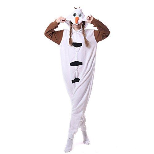 (Tier Karton Kostüm Einhorn PyjamaTierkostüme Jumpsuit Erwachsene Schlafanzug Unisex Cosplay (Xl, Olaf))