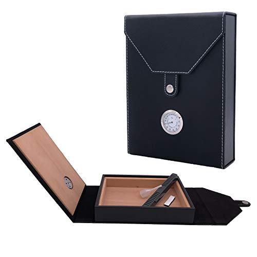 Sigaro Humidor, sigaro di sigaro di cuoio rivestito in legno di cedro con umidificatore e igrometro, contiene 5-10 sigari.