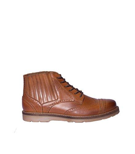 NOBRAND Chaussures pour Homme Lacets-Cuir Lisse-Marron mat