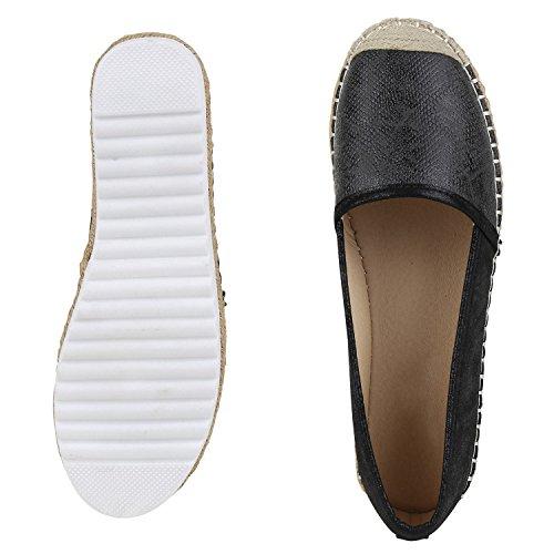 Damen Espadrilles Metallic Slipper Bast Profilsohle Flats Schuhe Schwarz