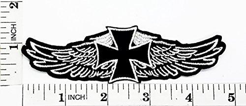 Kreuz Engel Flügel Rider Biker Motorrad Patch Hand bestickt und Bügelbild Symbol Jacke T-Shirt patches aufnäher Zubehör