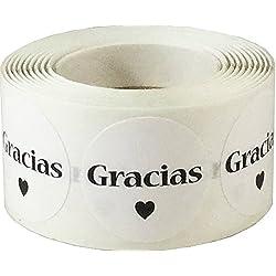 Blanco etiquetas adhesivas GRACIAS - 500 unidades