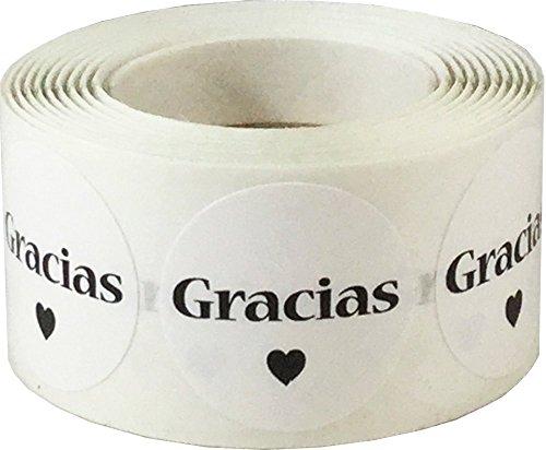 Blanco Circulo con Negro Gracias Pegatinas