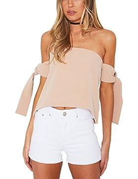 Simplee Apparel La mujer lazo del hombro manga de la gasa sin tirantes de blusa camisa con gargantilla crop top
