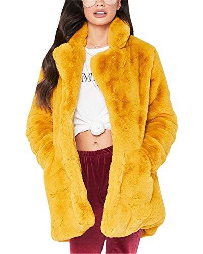 MISSMAOM Abrigo Calentar con Manga Larga para Mujer de Invierno de Piel Sintética de Pelo Chaqueta Outwear Amarillo XL