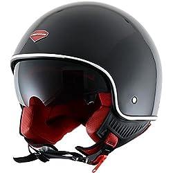 Astone Helmets - Minijet rétro - Casque jet rétro - Casque de moto vintage - Casque café racer- Casque en polycarbonate - gloss black