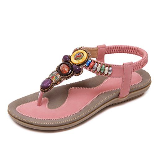 YoungSoul Damen Sandalen mit Zehensteg Bohemia Stil Sommerschuhe PU Leder Flach Sandaletten Schwarz EU 41 1qRAGqc