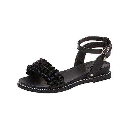 Sandali bassi donna estivi, 3 cm - uomogo® sandali comodi donna sandalo basso fascia,donne fiore solido rotonda toe tacco scarpa sandali spiaggia scarpe (asia 39, nero)
